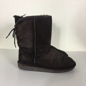 Bearpaw Brown Fur Lined Lace Up Back Winter Boots